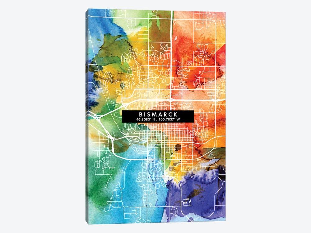Bismarck, North Dakota City Map Colorful Watercolor Style by WallDecorAddict 1-piece Canvas Art Print