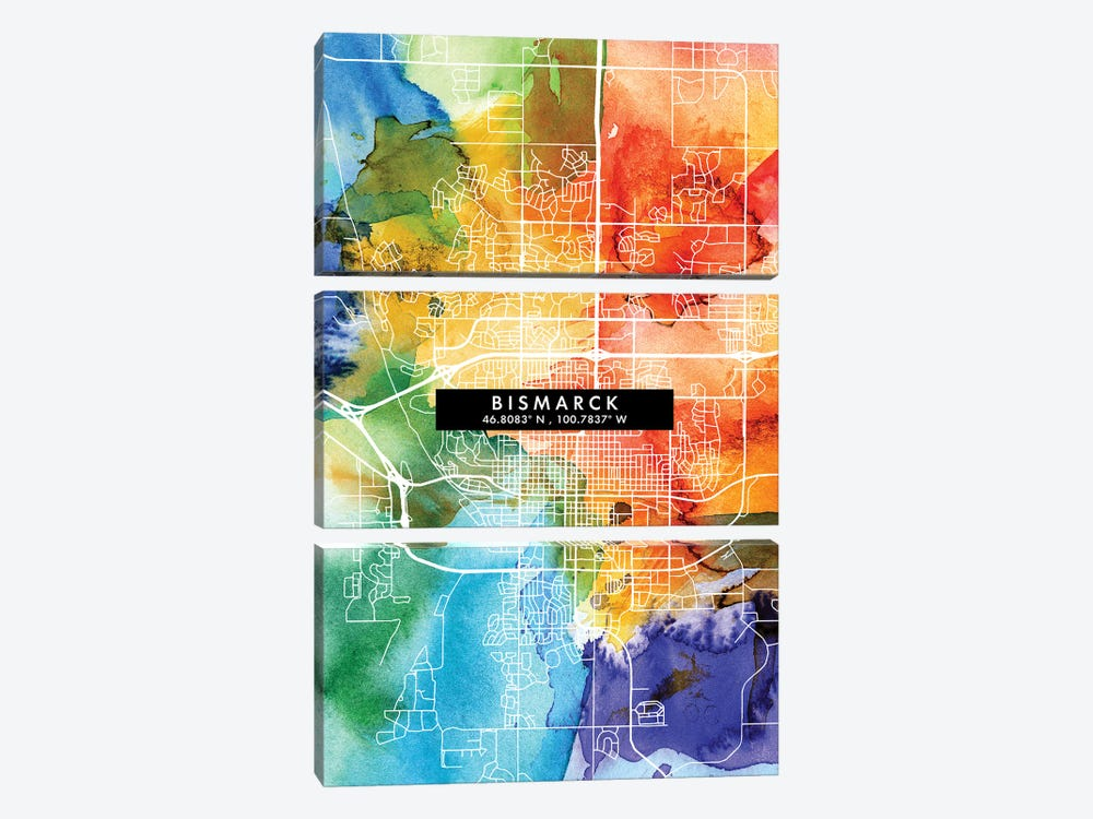 Bismarck, North Dakota City Map Colorful Watercolor Style by WallDecorAddict 3-piece Canvas Art Print