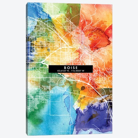 Boise City Map Colorful Watercolor Style Canvas Print #WDA1829} by WallDecorAddict Canvas Wall Art