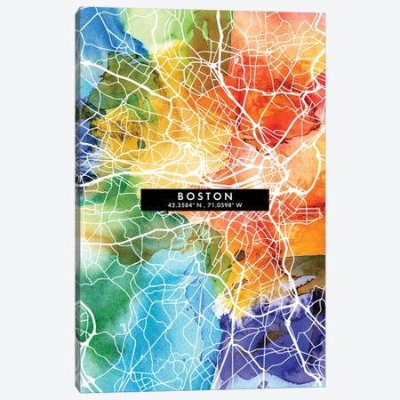 Boston City Map Colorful Watercolor Style Canvas Print #WDA1830} by WallDecorAddict Canvas Print