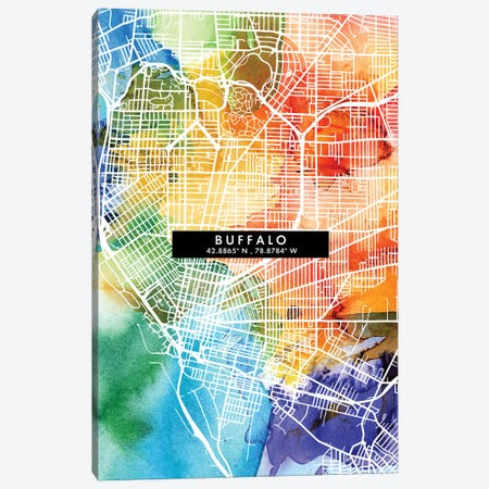 Buffalo City Map Colorful Watercolor Style Canvas Print #WDA1835} by WallDecorAddict Canvas Wall Art