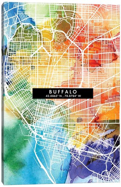Buffalo City Map Colorful Watercolor Style Canvas Art Print