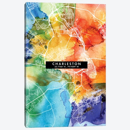 Charleston City Map Colorful Watercolor Style Canvas Print #WDA1837} by WallDecorAddict Canvas Art