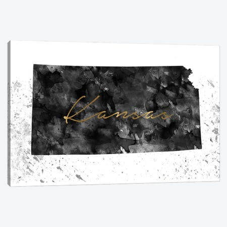 Kansas Black And White Gold Canvas Print #WDA183} by WallDecorAddict Canvas Wall Art