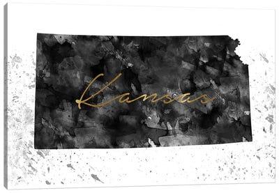 Kansas Black And White Gold Canvas Art Print
