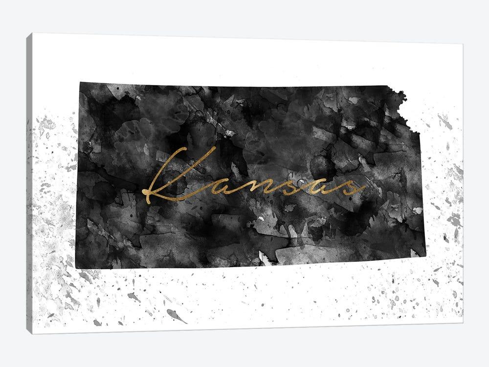 Kansas Black And White Gold by WallDecorAddict 1-piece Art Print