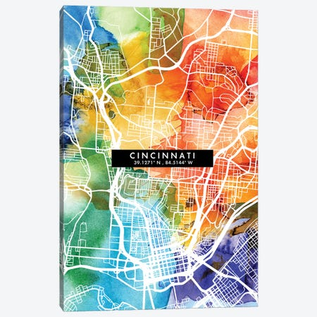 Cincinnati City Map Colorful Watercolor Style Canvas Print #WDA1840} by WallDecorAddict Canvas Wall Art