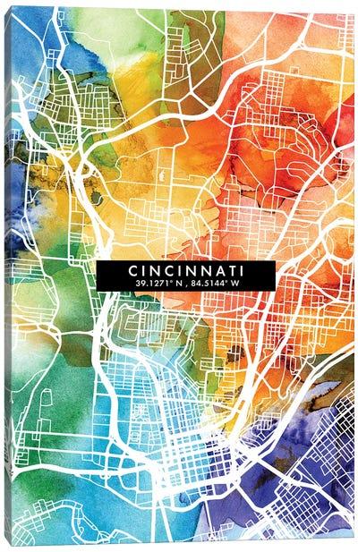 Cincinnati City Map Colorful Watercolor Style Canvas Art Print