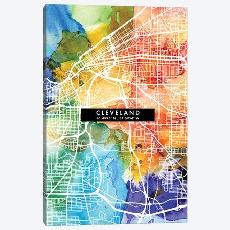 Cleveland City Map Colorful Watercolor Style Canvas Print #WDA1841} by WallDecorAddict Canvas Artwork