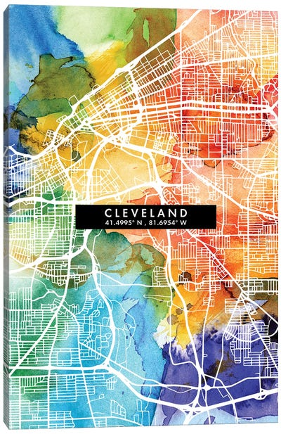 Cleveland City Map Colorful Watercolor Style Canvas Art Print