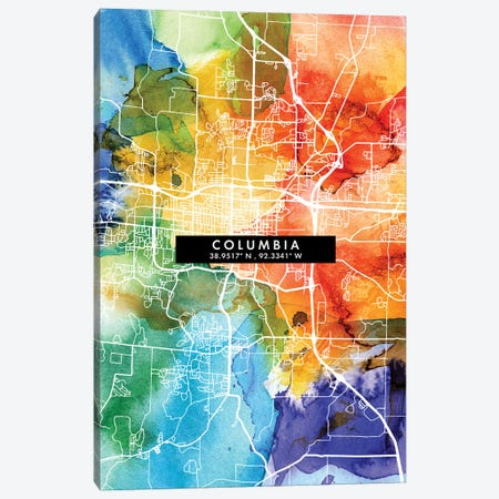 Columbia City Map Colorful Watercolor Style Canvas Print #WDA1843} by WallDecorAddict Canvas Wall Art