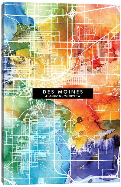 Des Moines City Map Colorful Watercolor Style Canvas Art Print