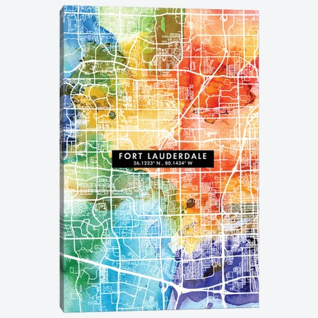 Fort Lauderdale City Map Colorful Watercolor Style Canvas Print #WDA1849} by WallDecorAddict Canvas Wall Art