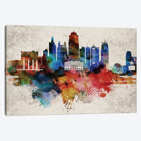 Kansas City Abstract Canvas Print #WDA184} by WallDecorAddict Art Print