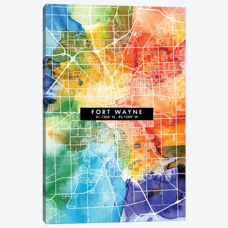 Fort Wayne City Map Colorful Watercolor Style Canvas Print #WDA1850} by WallDecorAddict Art Print
