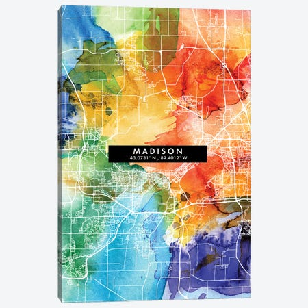 Madison City Map Colorful Watercolor Style Canvas Print #WDA1856} by WallDecorAddict Canvas Wall Art
