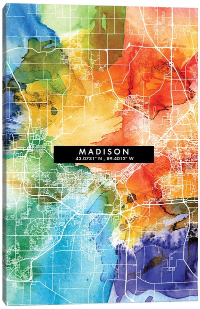 Madison City Map Colorful Watercolor Style Canvas Art Print