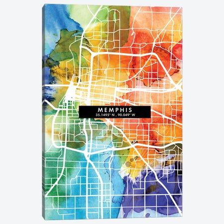 Memphis City Map Colorful Watercolor Style Canvas Print #WDA1858} by WallDecorAddict Art Print