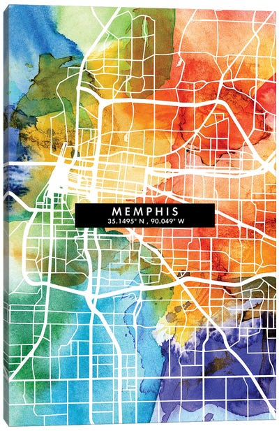Memphis City Map Colorful Watercolor Style Canvas Art Print