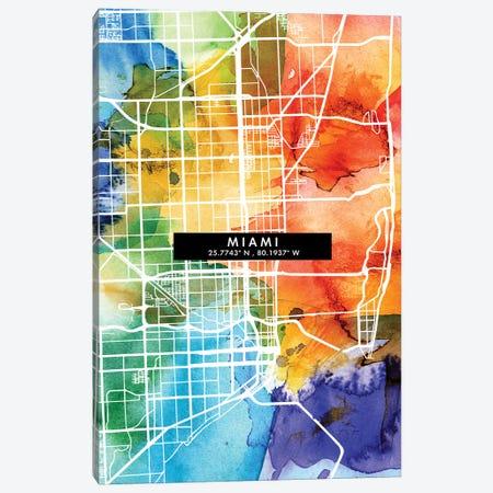 Miami City City Map Colorful Watercolor Style Canvas Print #WDA1859} by WallDecorAddict Canvas Art Print