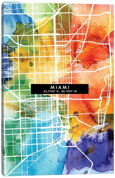 Miami City City Map Colorful Watercolor Style Canvas Art Print