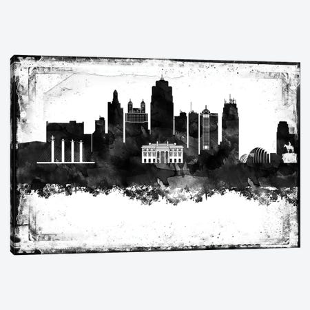 Kansas City Black And White Framed Skylines Canvas Print #WDA185} by WallDecorAddict Canvas Art Print