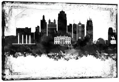 Kansas City Black And White Framed Skylines Canvas Art Print