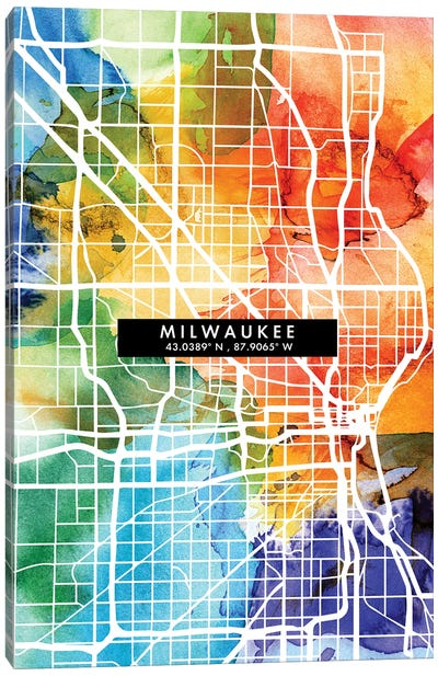 Milwaukee City Map Colorful Watercolor Style Canvas Art Print