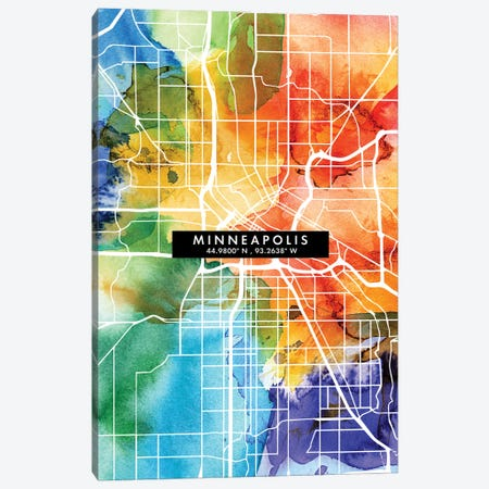Minneapolis City Map Colorful Watercolor Style Canvas Print #WDA1861} by WallDecorAddict Canvas Art