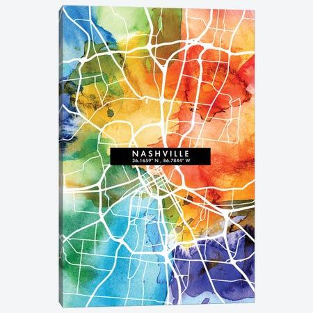 Nashville City Map Colorful Watercolor Style Canvas Print #WDA1863} by WallDecorAddict Canvas Artwork