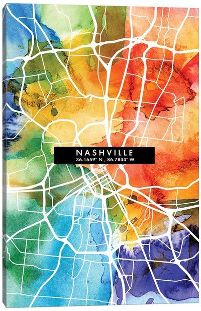 Nashville City Map Colorful Watercolor Style Canvas Art Print