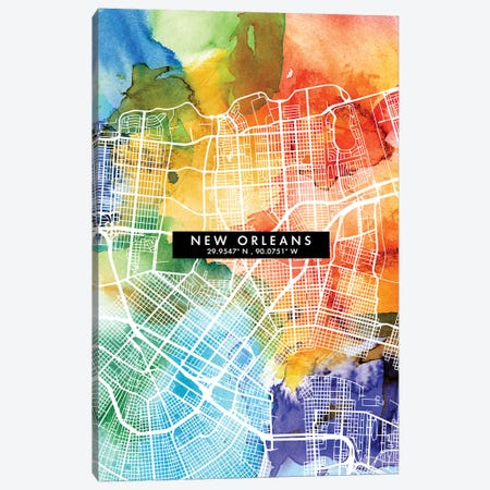 New Orleans City Map Colorful Watercolor Style Canvas Print #WDA1864} by WallDecorAddict Canvas Print