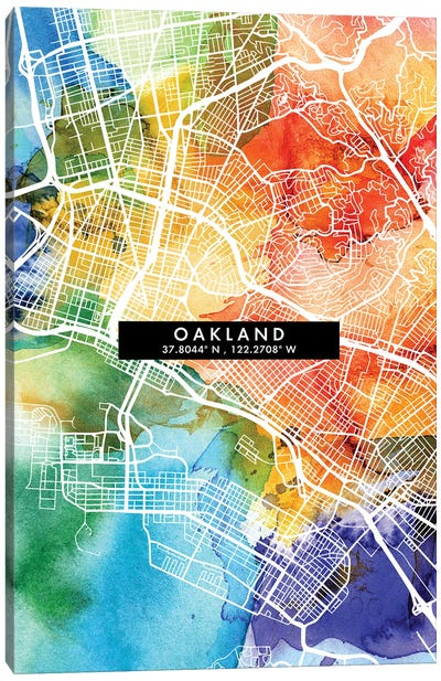 Oakland, California City Map Colorful Watercolor Style Canvas Art Print