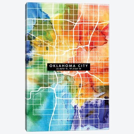 Oklahoma City Map Colorful Watercolor Style Canvas Print #WDA1868} by WallDecorAddict Canvas Art