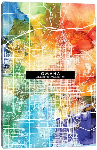 Omaha City Map Colorful Watercolor Style Canvas Art Print