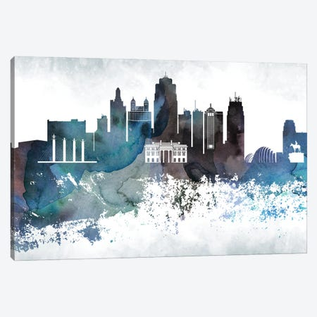 Kansas City Bluish Skylines Canvas Print #WDA186} by WallDecorAddict Canvas Art Print