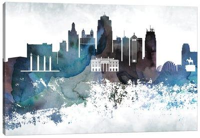 Kansas City Bluish Skylines Canvas Art Print