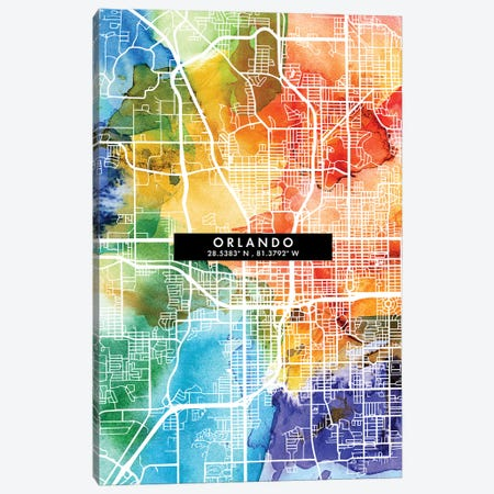 Orlando City Map Colorful Watercolor Style Canvas Print #WDA1870} by WallDecorAddict Canvas Print