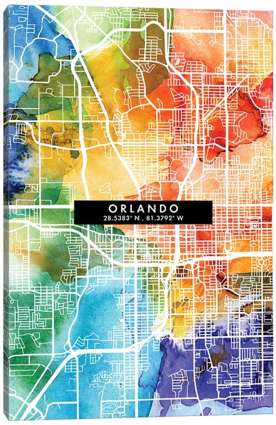 Orlando City Map Colorful Watercolor Style Canvas Art Print