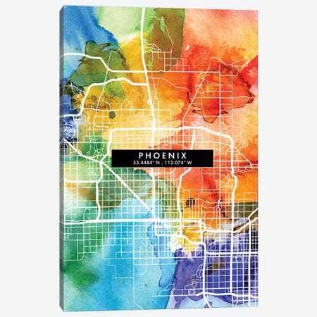 Phoenix City Map Colorful Watercolor Style Canvas Print #WDA1873} by WallDecorAddict Canvas Print
