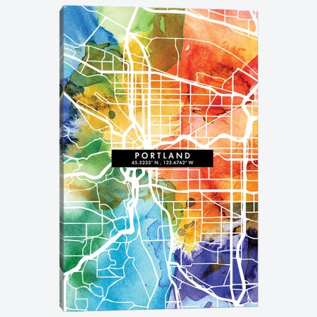 Portland City Map Colorful Watercolor Style Canvas Print #WDA1874} by WallDecorAddict Canvas Wall Art