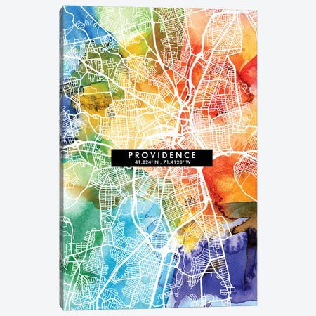 Providence City Map Colorful Watercolor Style Canvas Print #WDA1875} by WallDecorAddict Canvas Art