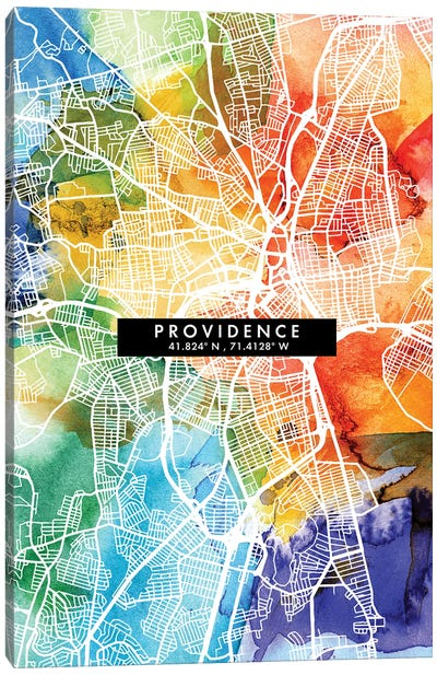 Providence City Map Colorful Watercolor Style Canvas Art Print