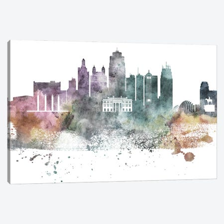 Kansas City Pastel Skylines Canvas Print #WDA187} by WallDecorAddict Art Print
