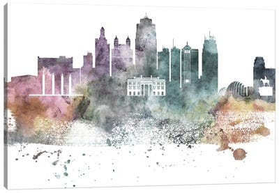 Kansas City Pastel Skylines Canvas Art Print