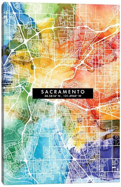 Sacramento City Map Colorful Watercolor Style Canvas Art Print