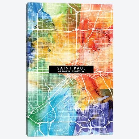 Saint Paul City Map Colorful Watercolor Style Canvas Print #WDA1881} by WallDecorAddict Canvas Wall Art
