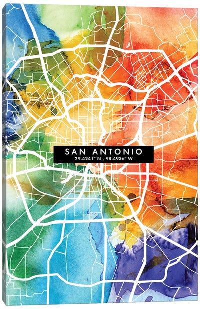 San Antonio City Map Colorful Watercolor Style Canvas Art Print