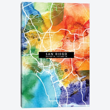 San Diego City Map Colorful Watercolor Style Canvas Print #WDA1885} by WallDecorAddict Canvas Print