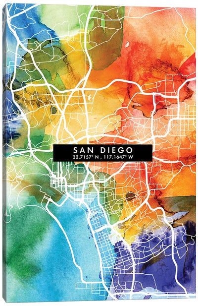 San Diego City Map Colorful Watercolor Style Canvas Art Print